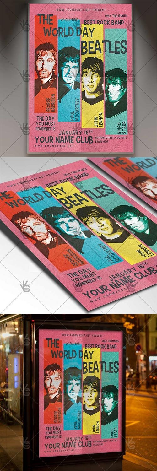 The Beatles Day ? Club Flyer PSD Template