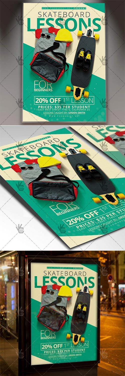 Skateboard Lessons ? Sport Flyer PSD Template
