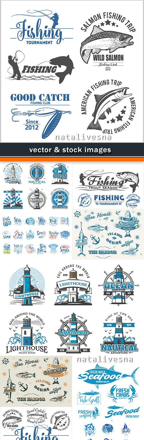 Fishing light beacon and seafood of label design