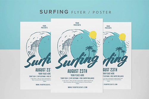 Surfing Flyer PSD