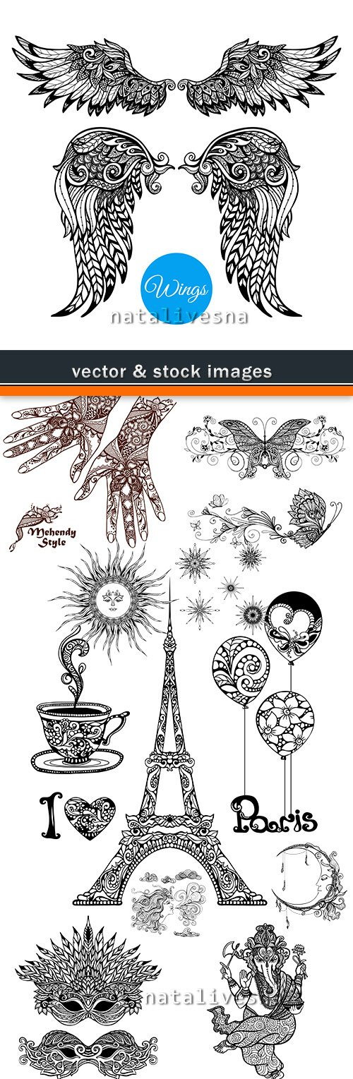 Vintage decorative elements of tattoos and emblems