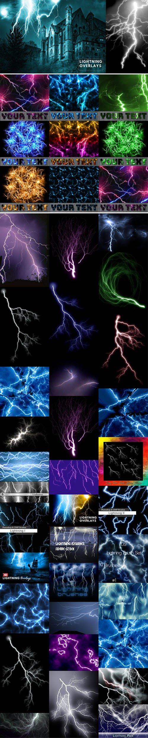 Lightning Overlays & Brushes for Photoshop