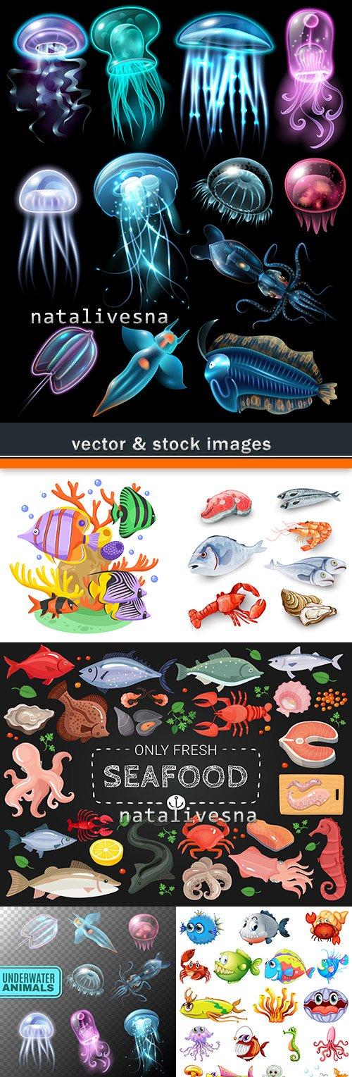 Sea small fishes set cartoon of illustrations