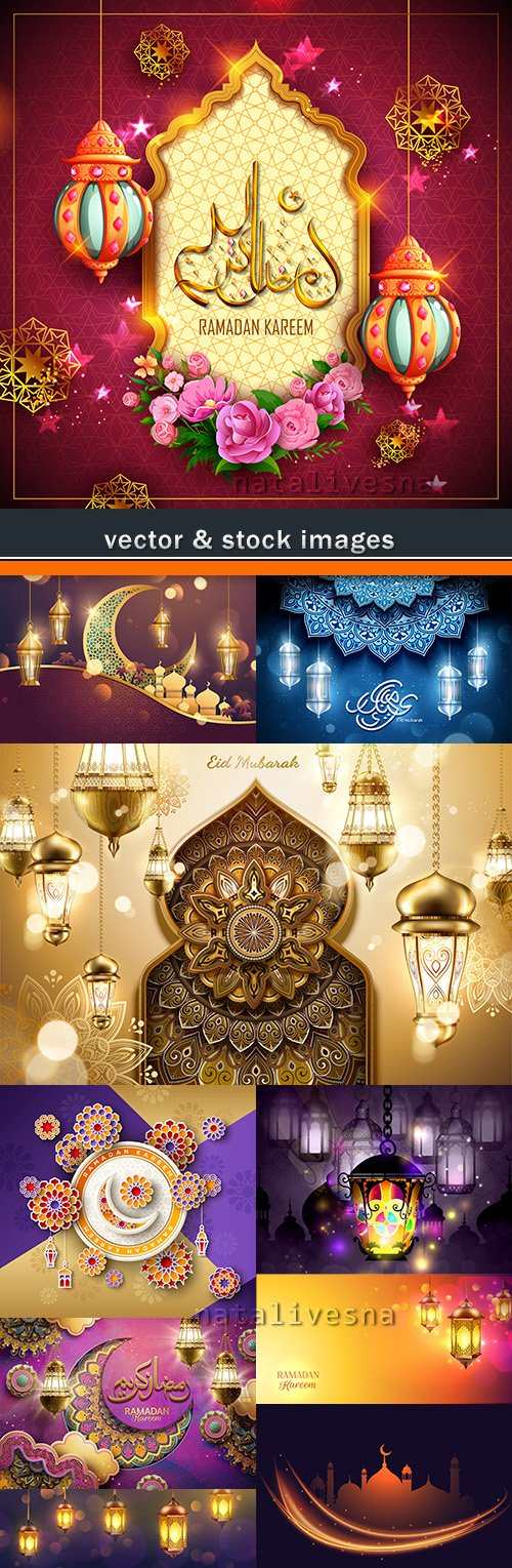 Ramadan Kareem muslim culture collection illustrations 11