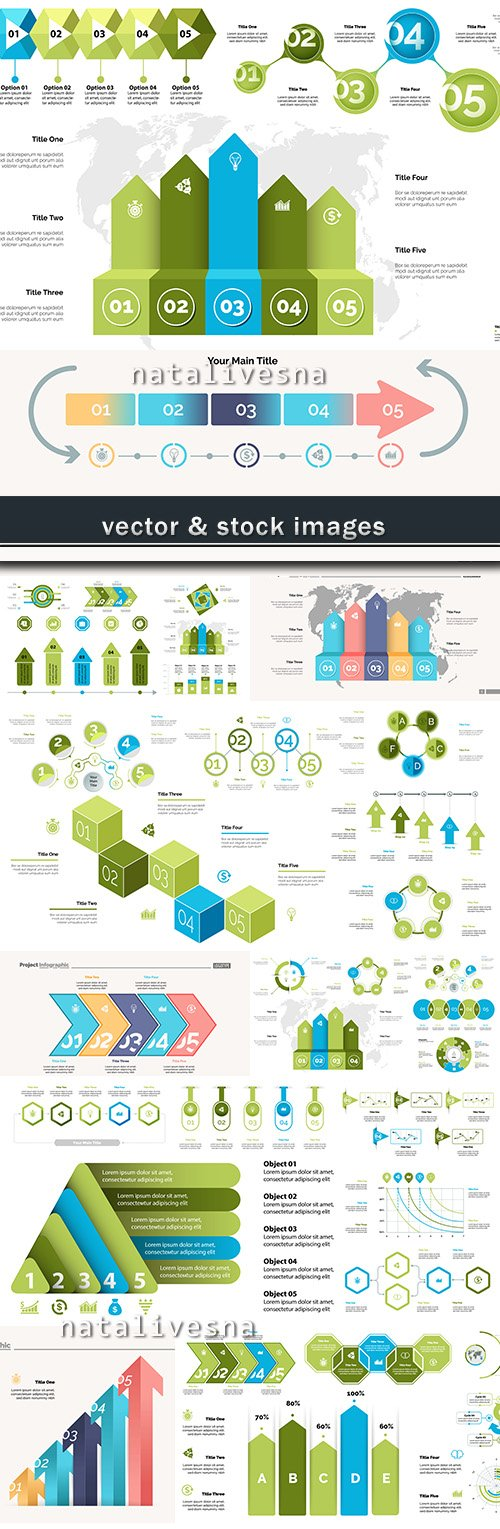 Business infographics options elements collection 52