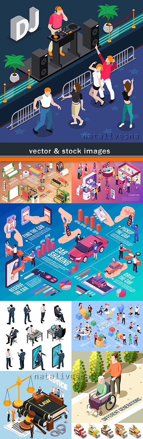 Isometric icons social system people vector illustration 5