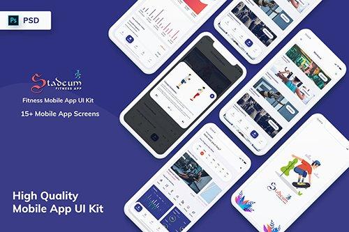 Stadeum - Fitness Mobile App UI Kit (PSD)