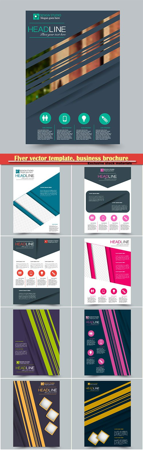 Flyer vector template, business brochure, magazine cover # 38