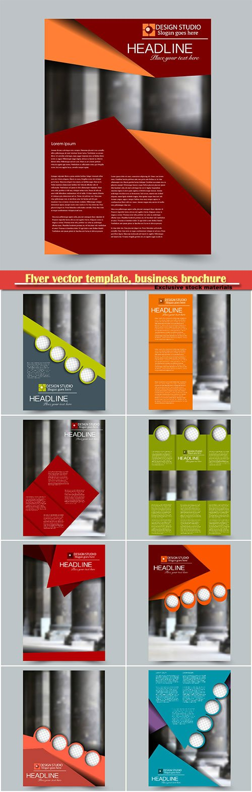 Flyer vector template, business brochure, magazine cover # 39