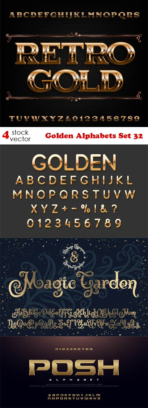Vectors - Golden Alphabets Set 32