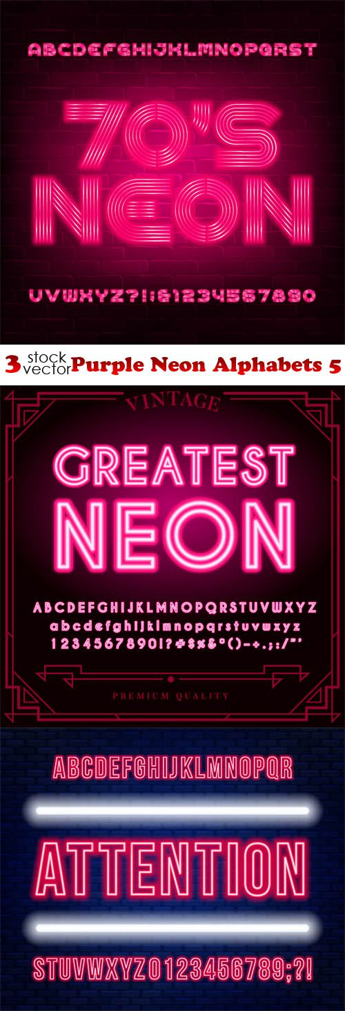 Vectors - Purple Neon Alphabets 5