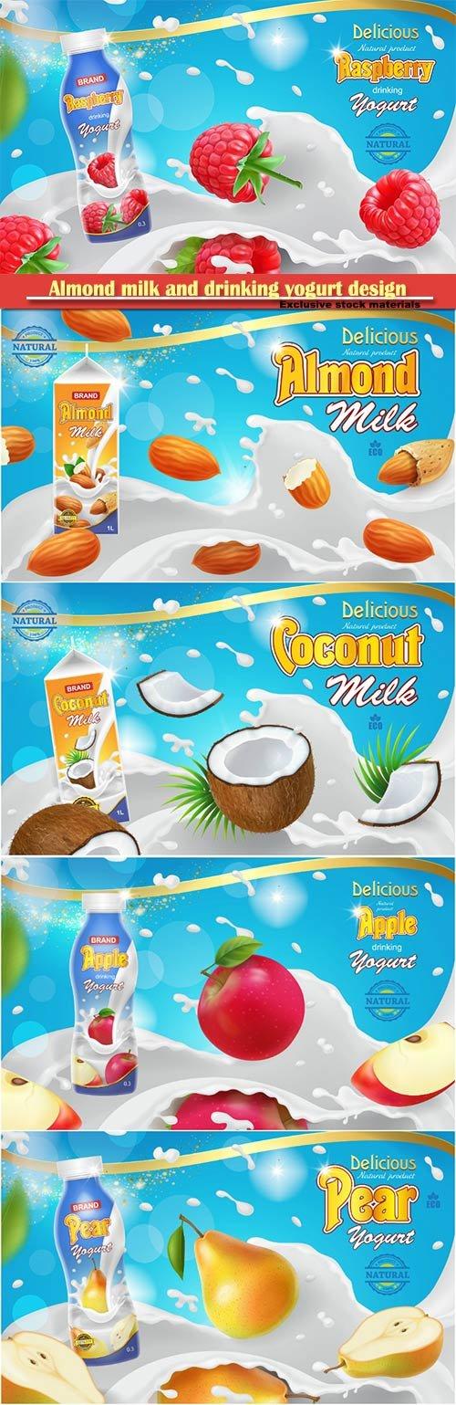 Almond milk and drinking yogurt design ads template realistic 3d illustration