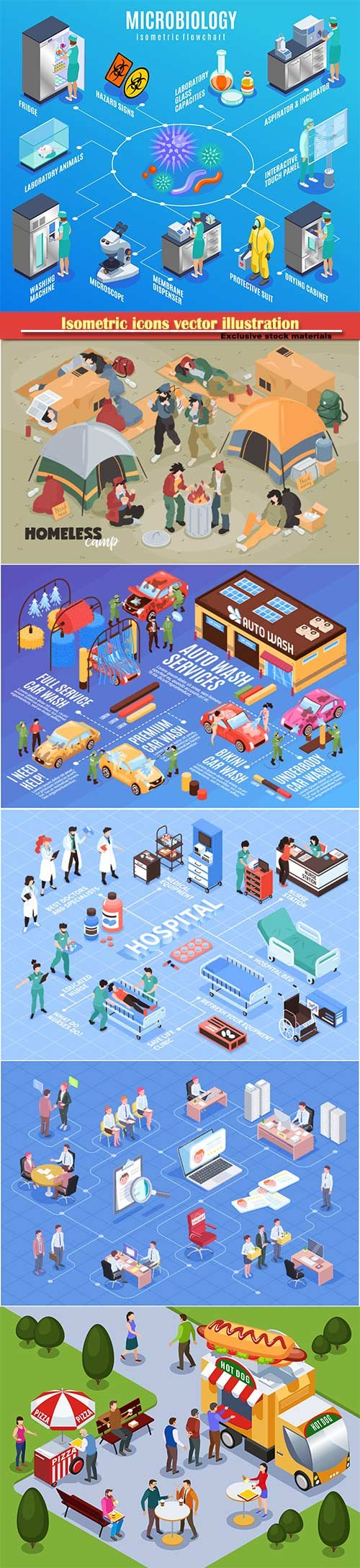 Isometric icons vector illustration, banner design template # 42
