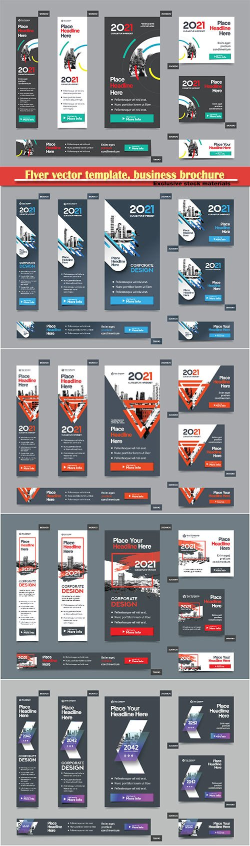 Flyer vector template, business brochure, magazine cover # 40