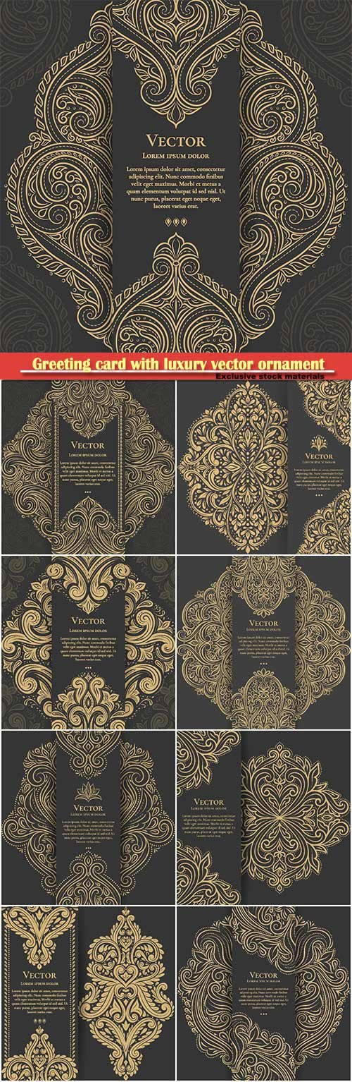 Greeting card design with luxury vector ornament template, mandala, great for invitation, flyer, menu, brochure