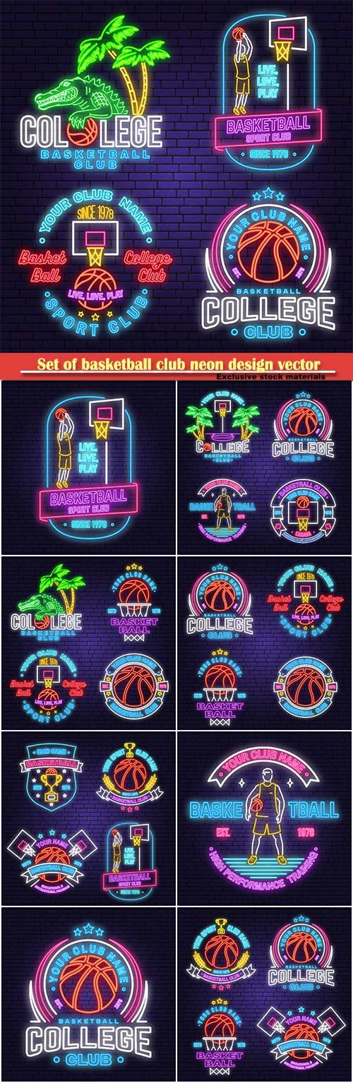 Set of basketball club neon design vector emblem