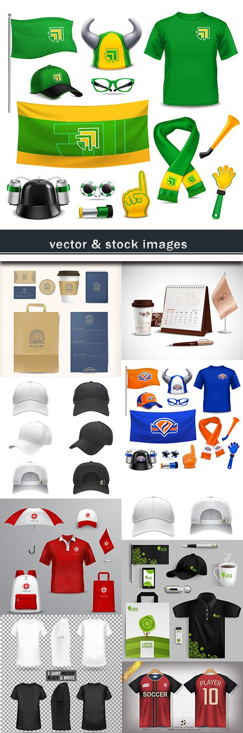 Bag, cap, and uniform collection of realistic templates