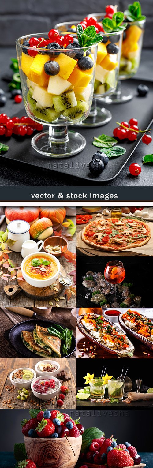 Breakfast pizza fruit and drinks photo collection