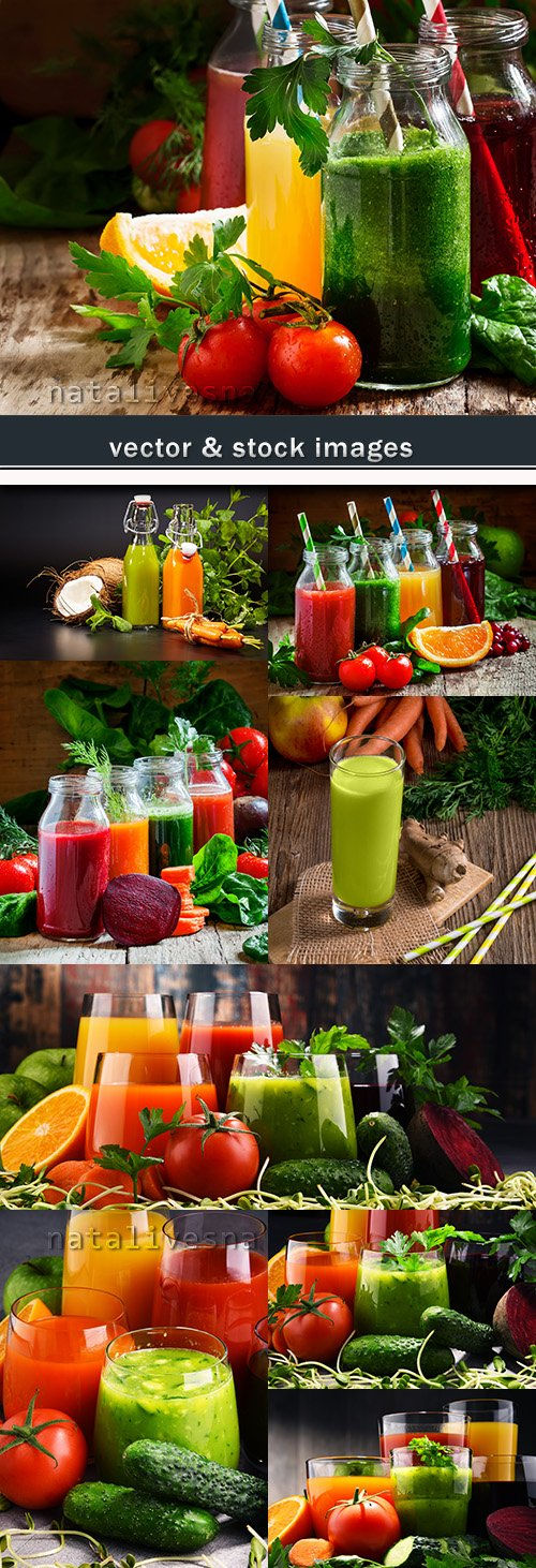Cocktails and vitamin drinks from fresh fruit and vegetables