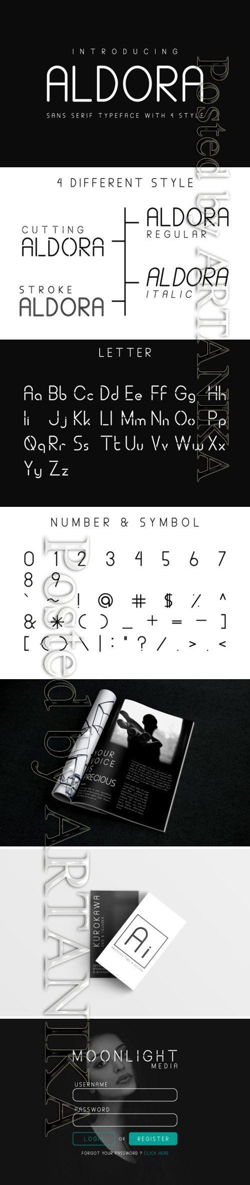 Aldora Sans Serif Typeface Font