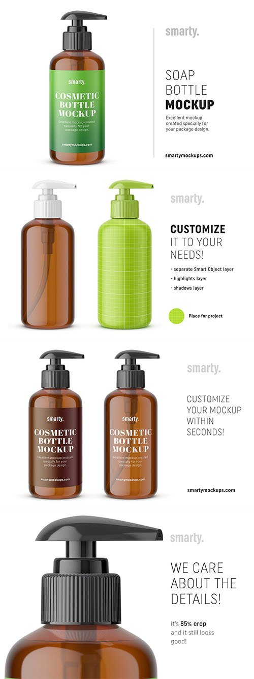 CreativeMarket - Amber soap bottle mockup 3447216