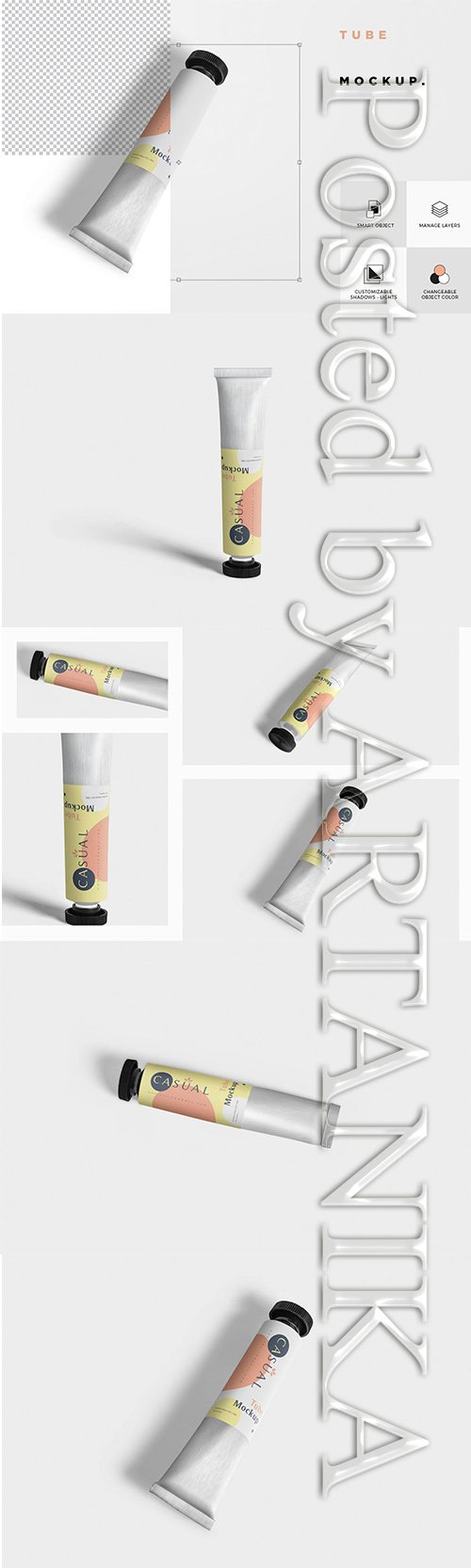 Metal Cream Tube Mockups