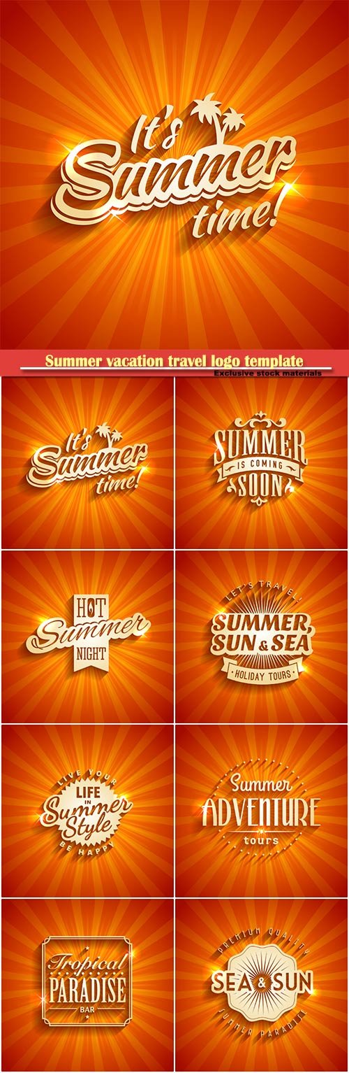 Summer vacation travel colorful logo template