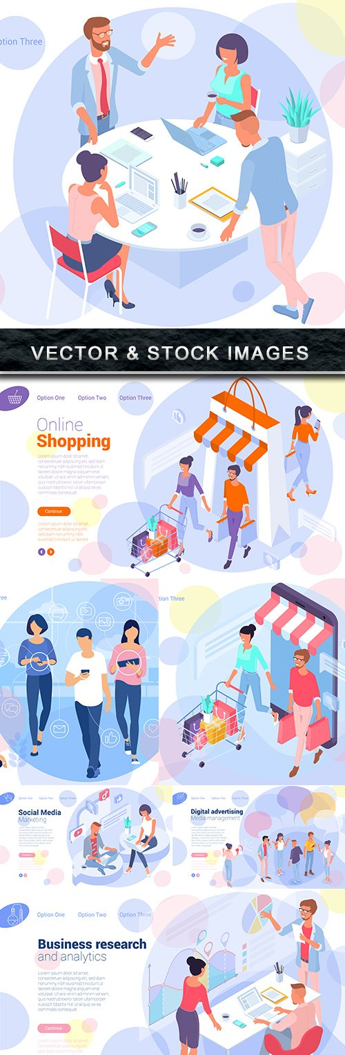 People online shopping and social network business concept