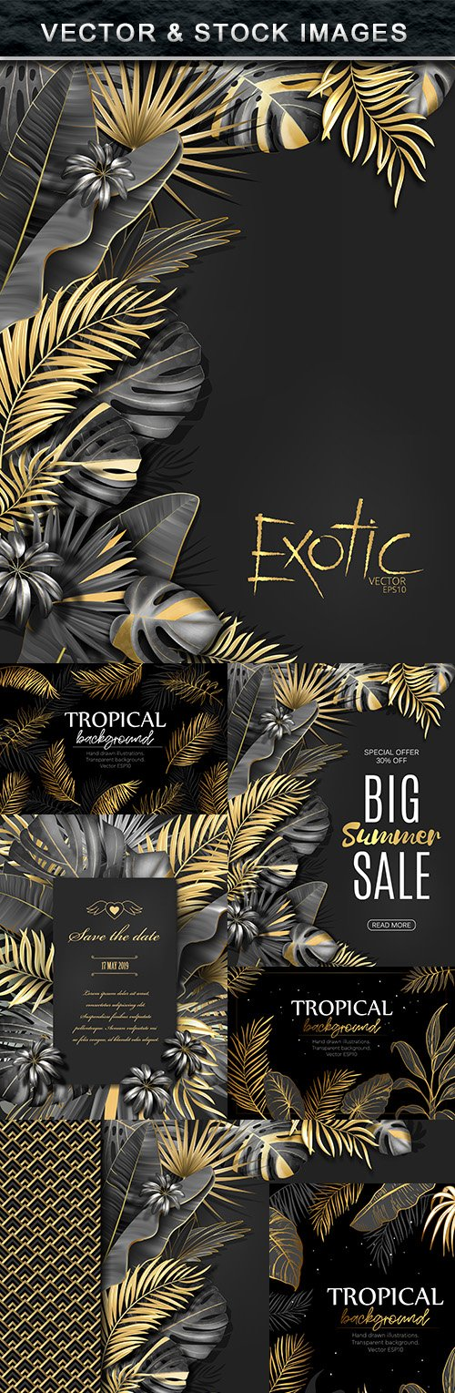 Summer tropical background with gold palm listm