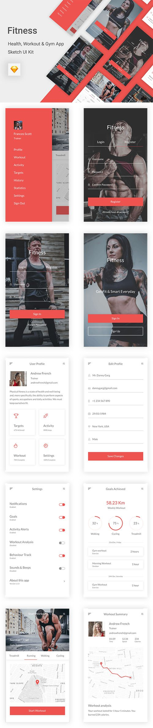 Fitness - Health, Workout & Gym UI Kit for Sketch