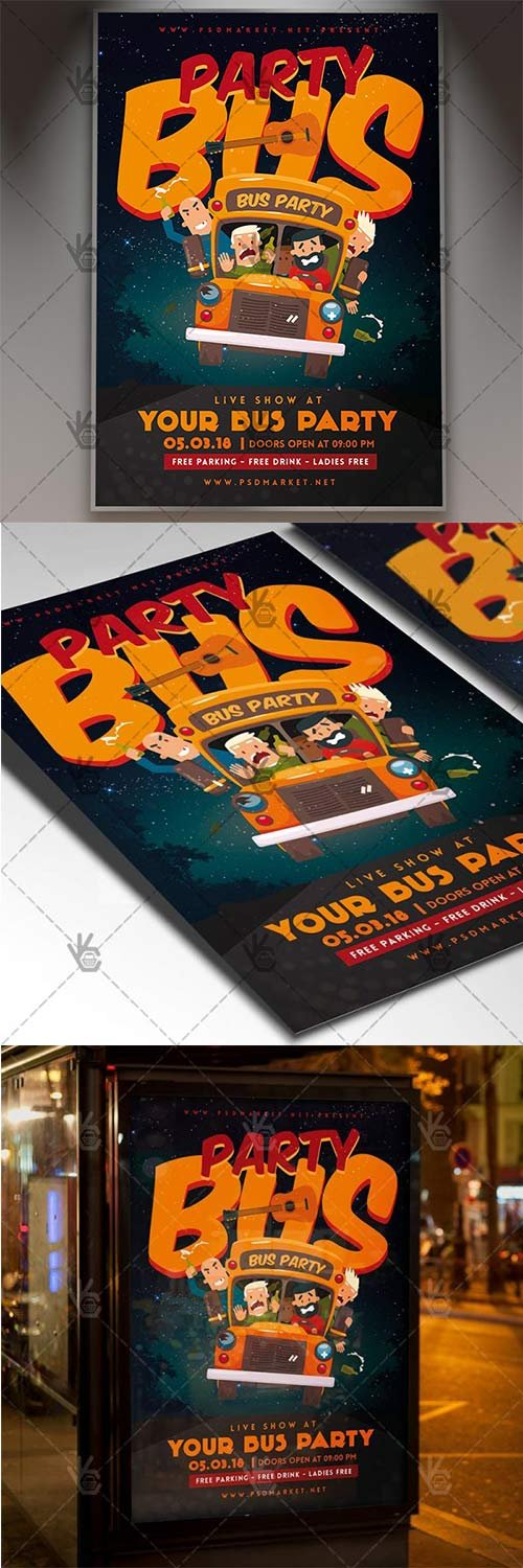 Party Bus Night - Club Flyer PSD Template