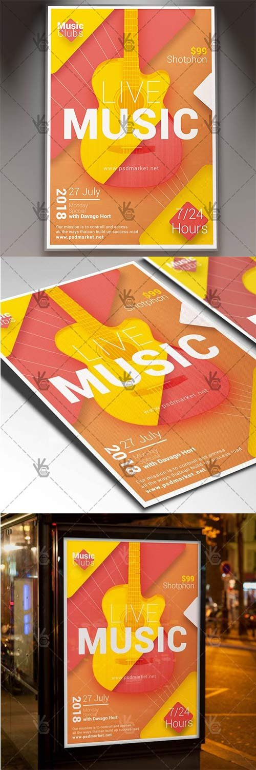 Live Music - Club Flyer PSD Template