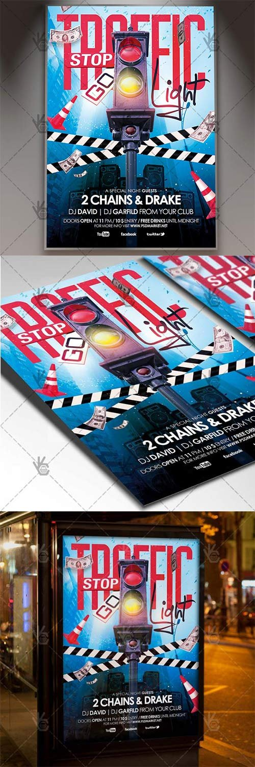 Traffic Light Party - Club Flyer PSD Template