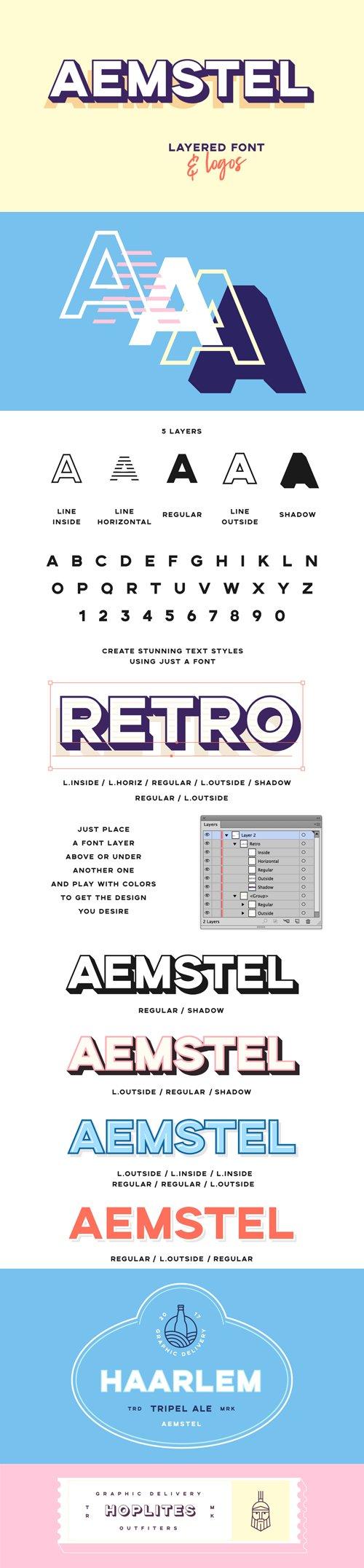 Aemstel Layered sans serif Font