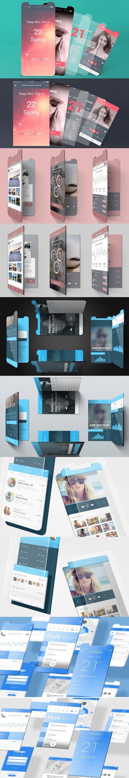 Multi iOS App Screens PSD Mockups for iPhone