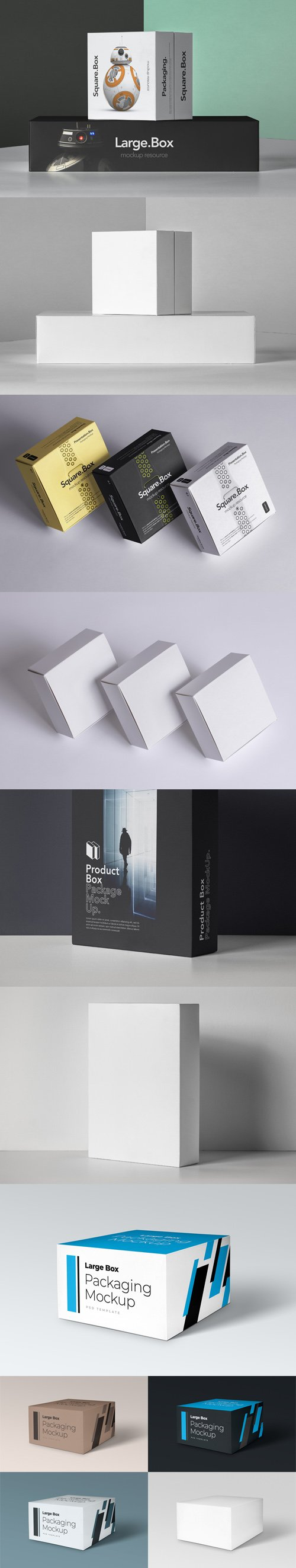 4 Product Boxes Packaging PSD Mockups Collection
