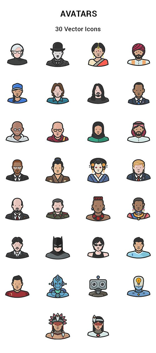 30 People & Cultures Around the World Vector Icons
