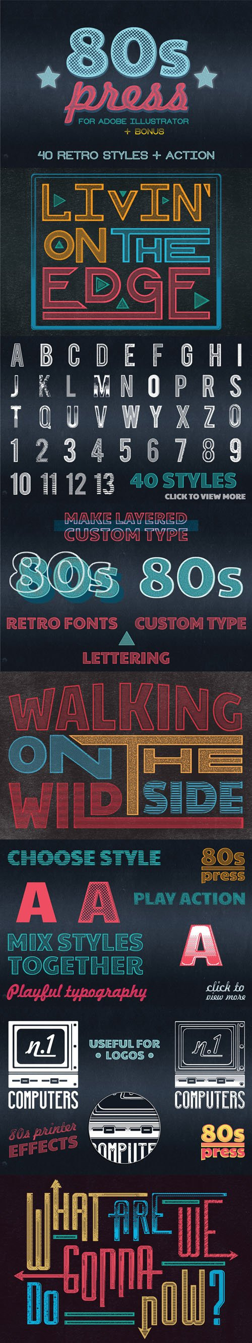 80's Press for illustrator - 40 Retro Styles & Actions