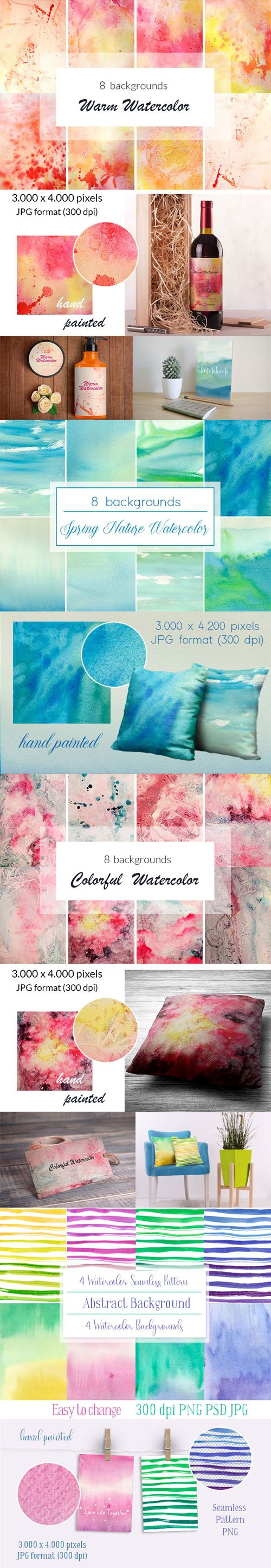32 Watercolor Backgrounds Collection