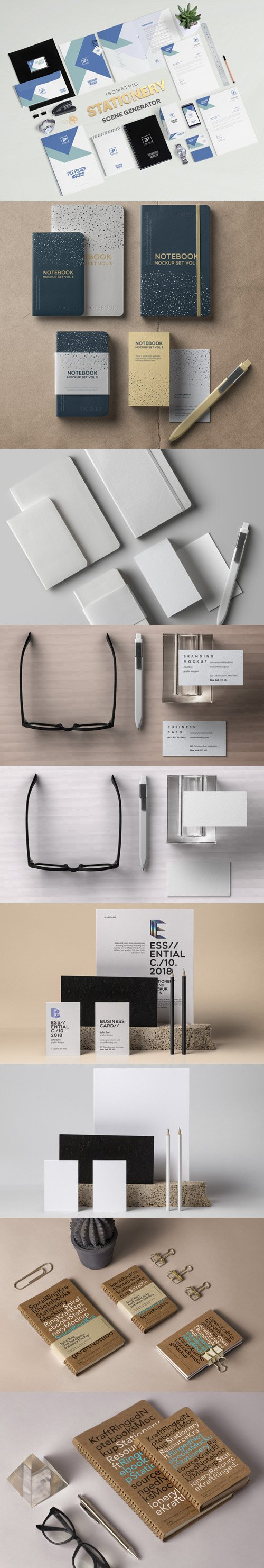 9 Corporate Identity Branding Stationary PSD Mockups Collection