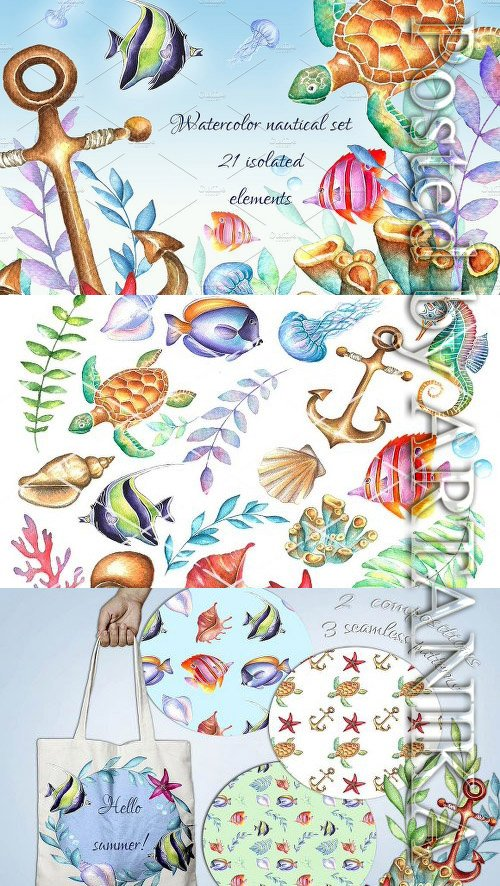 CM - Nautical watercolor clipart set 2028373
