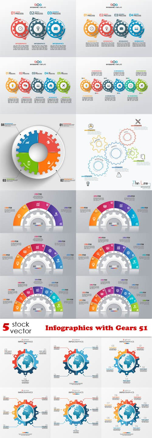 Vectors - Infographics with Gears 51