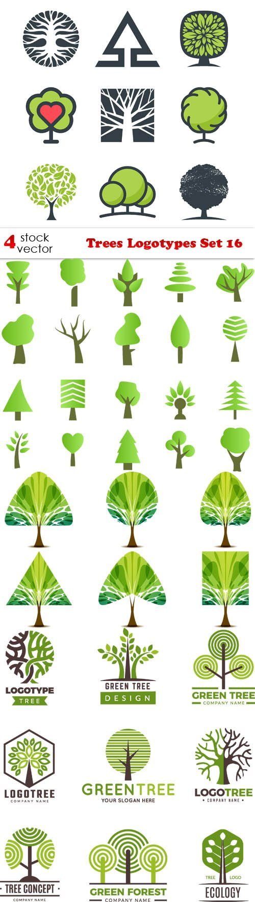 Vectors - Trees Logotypes Set 16