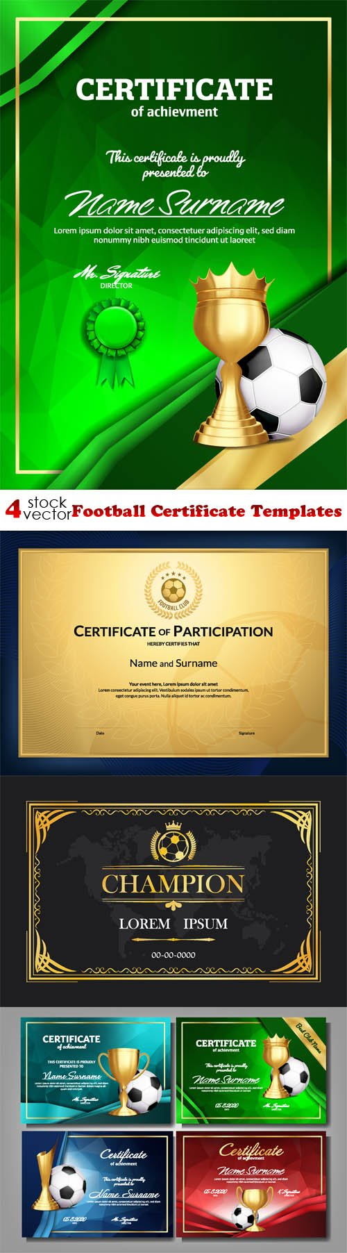 Vectors - Football Certificate Templates