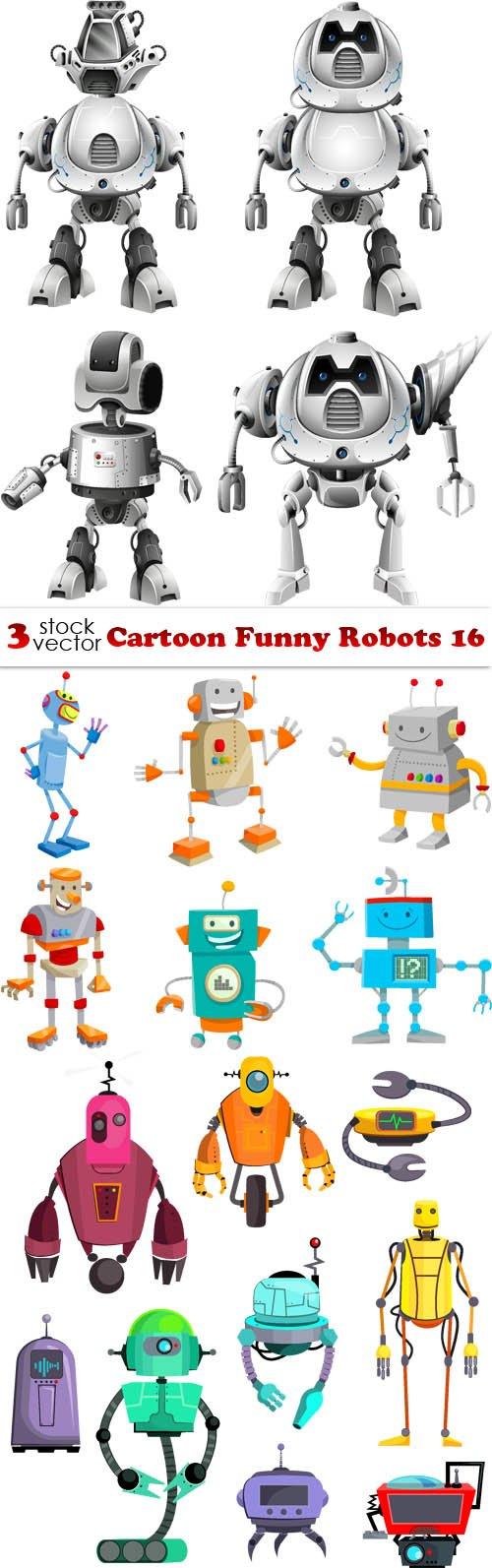 Vectors - Cartoon Funny Robots 16