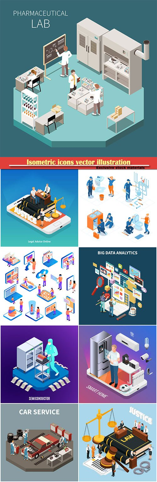 Isometric icons vector illustration, banner design template # 43