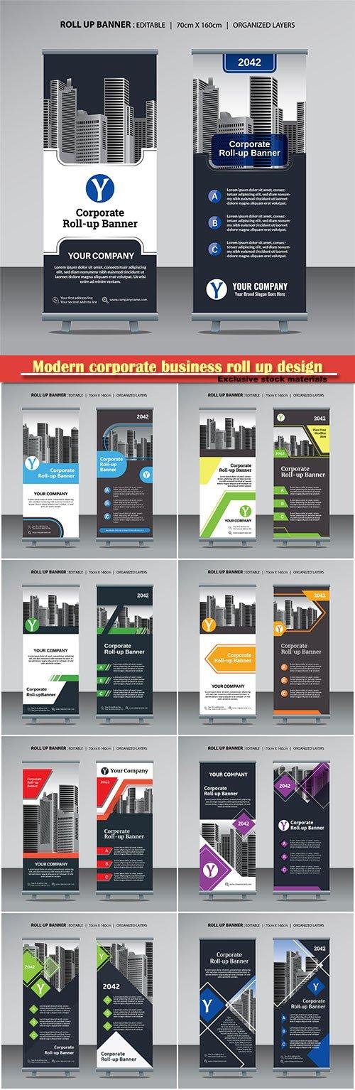 Modern corporate business roll up design vector template