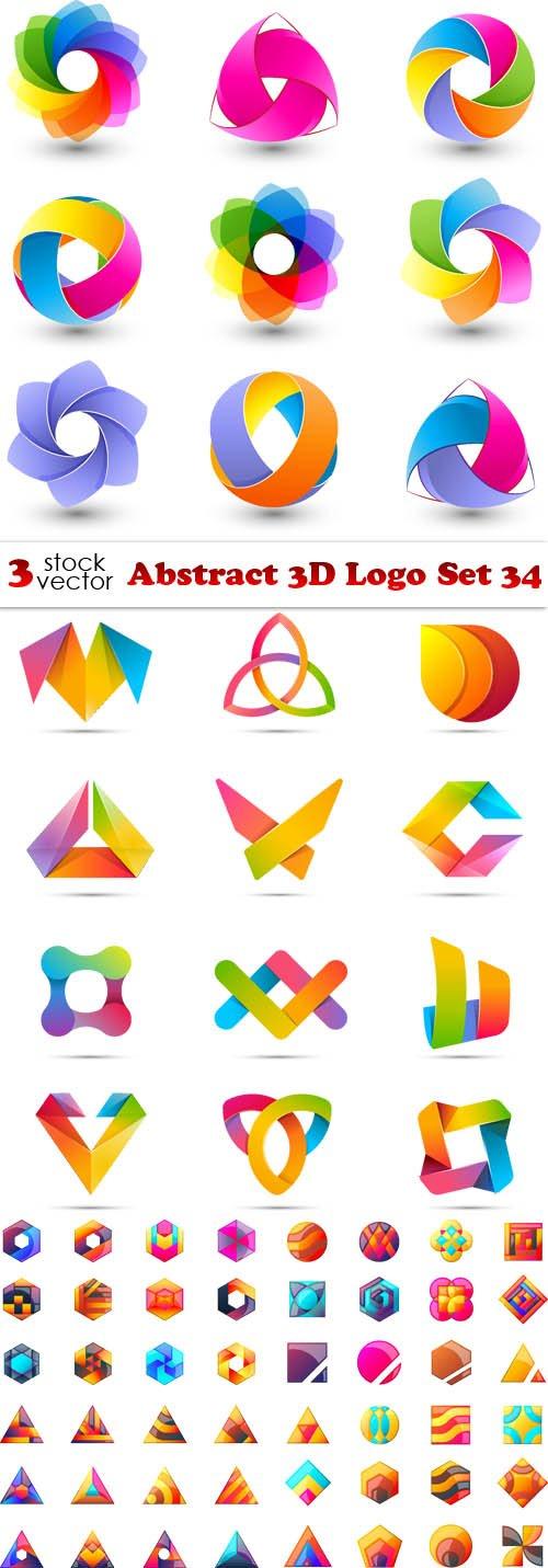 Vectors - Abstract 3D Logo Set 34