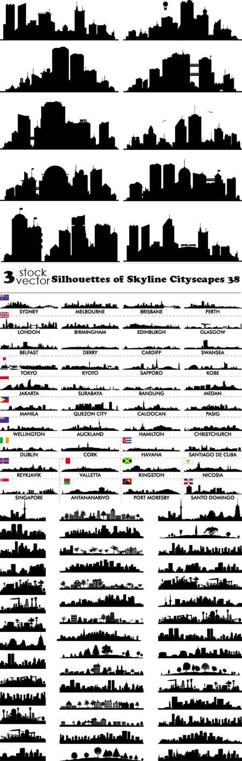 Vectors - Silhouettes of Skyline Cityscapes 38