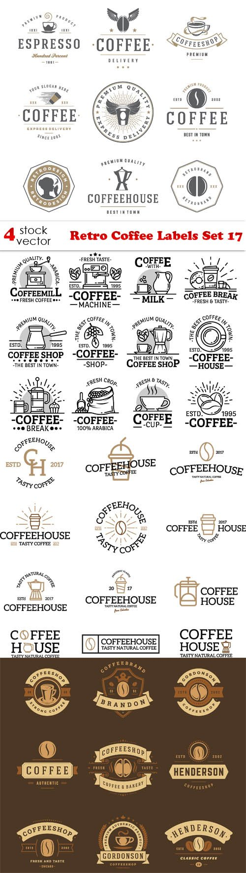 Vectors - Retro Coffee Labels Set 17